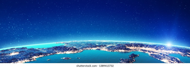 Mediterranean city lights. Elements of this image furnished by NASA. 3d rendering