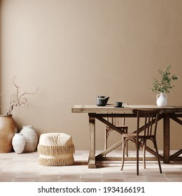 Mediterranean interior template. Wall mockup, chair, table and terracotta pottery on beige background. 3d rendering illustration. Clipping path included.