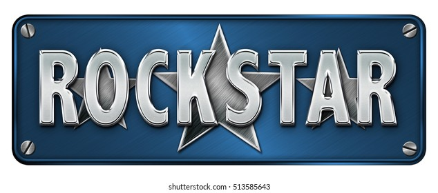Medium Blue Realistic Chrome/metallic 'ROCKSTAR' text on a banner or metal plate (Not 3D Render)