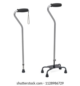 Medline quad cane and walking stick. 3D rendering isolated on white background