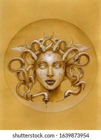 Medusa gorgon.Watercolor illustration on vintage paper.
