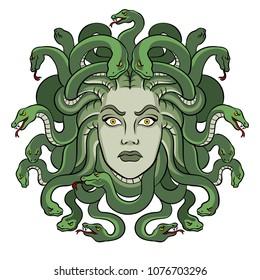 Medusa head with snakes greek myth creature pop art retro raster illustration. Isolated image on white background. Comic book style imitation.