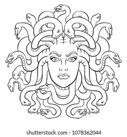 Medusa head with snakes greek myth creature coloring raster illustration. Comic book style imitation.