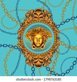 medusa sculpture 3d illistration, chain, baroque frame shawl, bandana, scarf, print pattern with blur, textured