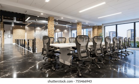 Meeting office. Modern office workplace. Meeting table. Modern office. Meeting interior. 3d illustration.