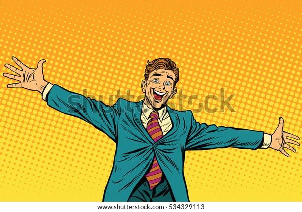 Conhecer outras pessoas felizes, ilustração retro pop art. Empresário amplamente colocado braços para um abraço