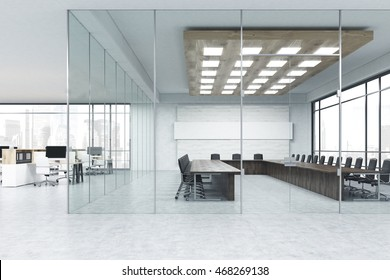 Meeting room with glass walls and computer room near it. Concept of business negotiations. 3d rendering. Mock up
