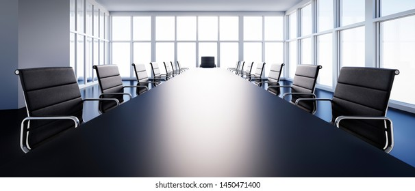 Meeting room in high-rise building with a view at the skyline - 3D illustration