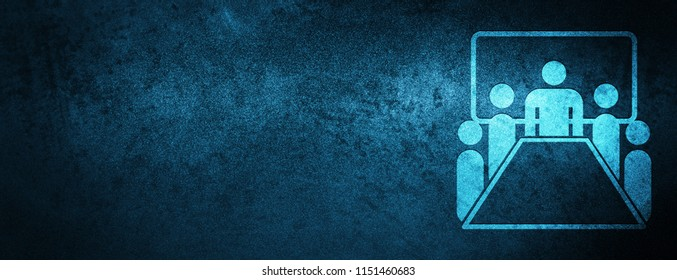 Meeting room icon isolated on special blue banner background abstract illustration