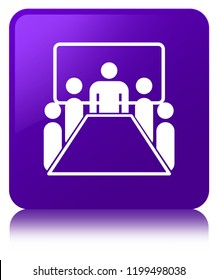 Meeting room icon isolated on purple square button reflected abstract illustration