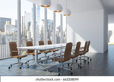 Meeting room interior with a long white table surrounded by brown office chairs, a panoramic window with a cityscape, a row of ceiling lamps and a blank wall fragment. 3d rendering mock up