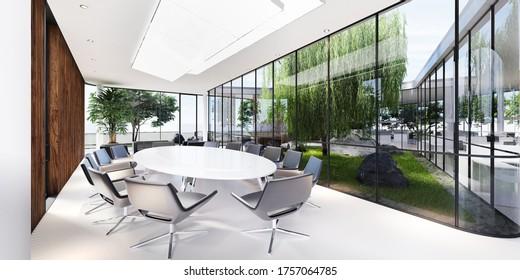 Tagungsraum mit einem großen weißen Tisch und schwarzen Ledersesseln in einem grünen Büro mit vielen Pflanzen. Glastransparentes Büro. 3D-Darstellung.