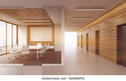 Meeting room in modern office interior with glass wall, table and chairs. Big whiteboard. Many doors. Large window. Concept of business negotiations. 3d rendering. Mock up. Toned image