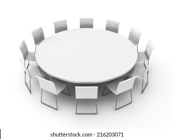 meeting room table with chairs around. 3d render illustration