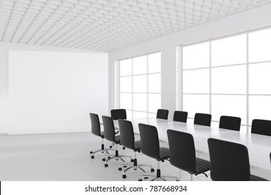 Meeting room with white bilboardom, table and chairs. 3d rendering