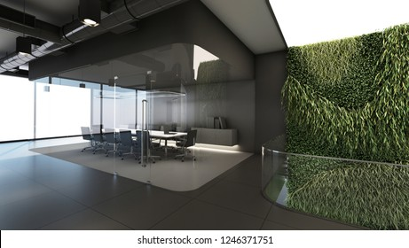 Meetingroom Design Modern curve glass, grey carpet, black ceiling Furniture black tone, Green wall to ground floor   - 3D render