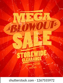 Mega blowout sale, storewide clearance design in retro style, raster version