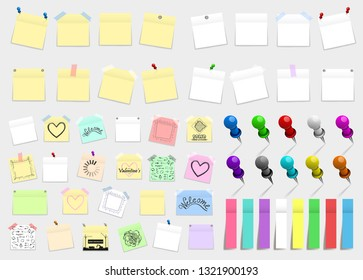 Mega pack of colored office paper stickers and metal pins with shadows isolated on white background. Reminder tag elements mock up
