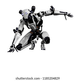 mega robot super drone in a white background. This super robot will put some fun in yours creations, 3d illustration