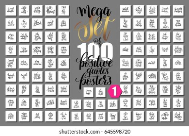 mega set of 100 positive quotes posters about happy summer, motivation and inspirational journey phrases to design, greeting card, printable wall art, calligraphy raster version big collection
