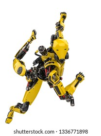 mega yellow robot super drone slipping away in a white background, 3d illustration