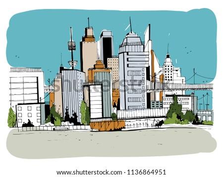 eed9f5b8337a Megalopolis City Street Illustration Hand Drawn – stock ilustrace ...