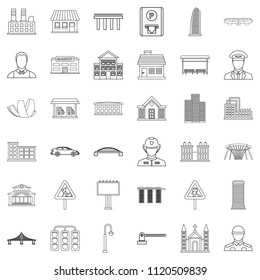 Megalopolis icons set. Outline set of 36 megalopolis icons for web isolated on white background