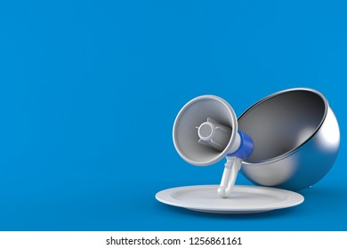 Megaphone with catering dome isolated on blue background. 3d illustration a94425051d10