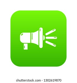 Megaphone icon green isolated on white background