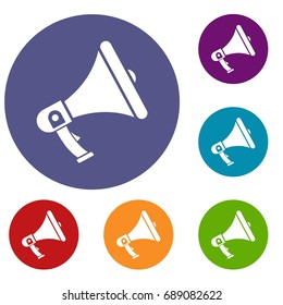 Megaphone icons set in flat circle reb, blue and green color for web