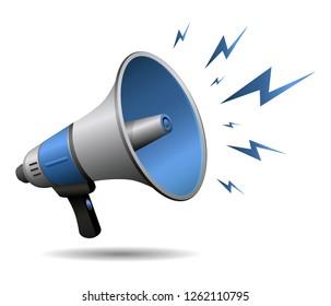 Megaphone or Loudspeaker noisy blue realistic with lightning icon isolated on white background. Symbol of news, social media, promotion, broadcasting, marketing and etc. illustration