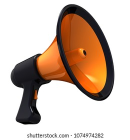 Megaphone news blog loudspeaker communication announce declaration attention symbol. Bullhorn orange black icon. Propaganda agitation advertising sale message concept. 3d illustration