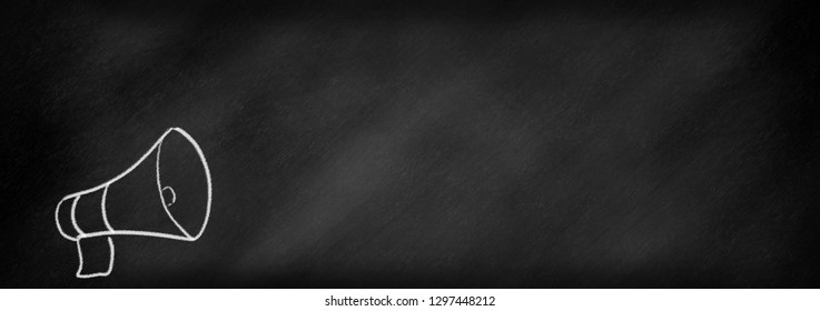 Megaphone on a chalklboard