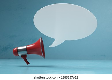 Megaphone with speech bubble (3D Rendering)