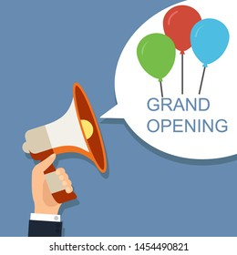 Megaphone with speech bubble and balloons. Grand opening concept. Illustration design