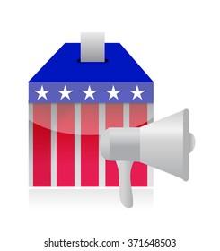 megaphone and vote ballot illustration design isolated over white