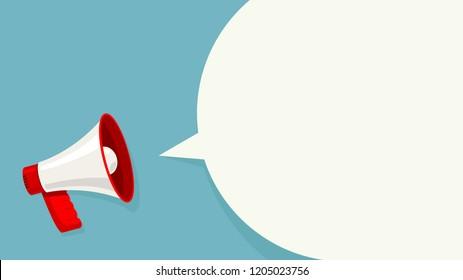 Megaphone white bubble for social media marketing concept. announce for marketing.