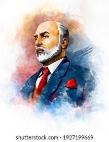 Mehmet Akif Ersoy (1873-1936) poeta, autor, académico y miembro del parlamento turco.  ilustración de retrato de acuarela.