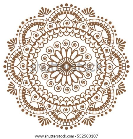 Royalty Free Stock Illustration Of Mehndi Brown Mandala Flower