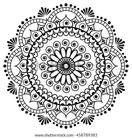 Mehndi Mandala Flower Indian Henna Style Stock Illustration