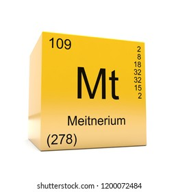 Meitnerium chemical element symbol from the periodic table displayed on glossy yellow cube 3D render