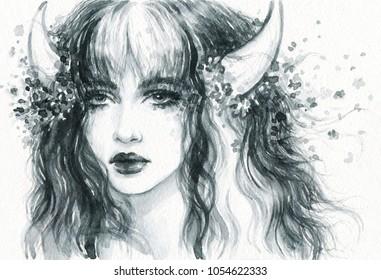 melancholy. black magic fairy. watercolor illustration