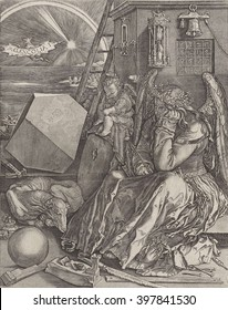 Melancholy, by Johannes Wierix after Durer, 1602, Netherlandish print. Copied from Durer's original of 1514. The allegorical figure of the melancholic temperament as a pensive winged female figure.