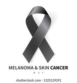 Melanoma and Skin Cancer Awareness Month. Realistic Black ribbon symbol. Medical Design.