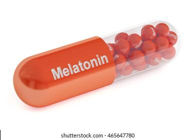 Melatonin capsule, 3D rendering isolated on white background