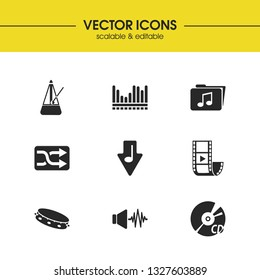 Melody icons set with shuffle button, video clip and tambourine elements. Set of melody icons and moving pendulum concept. Editable  elements for logo app UI design.