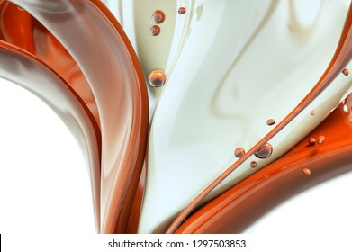Melted hot chocolate and milk is pouring. Liquid Jet isolated on white background, isolated 3d rendering