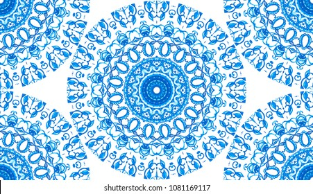 Melting colorful symmetrical square pattern for textile, ceramic tiles and design. Colorful watercolor blue mandala. Oriental esoteric vintage round print. Hand drawn abstract background.