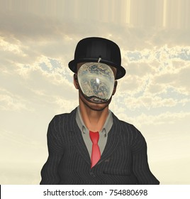 Melting Scene of man in dark suit hidden face. Magritte style. 3D rendering.