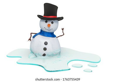 Melting snowman, 3D rendering isolated on white background